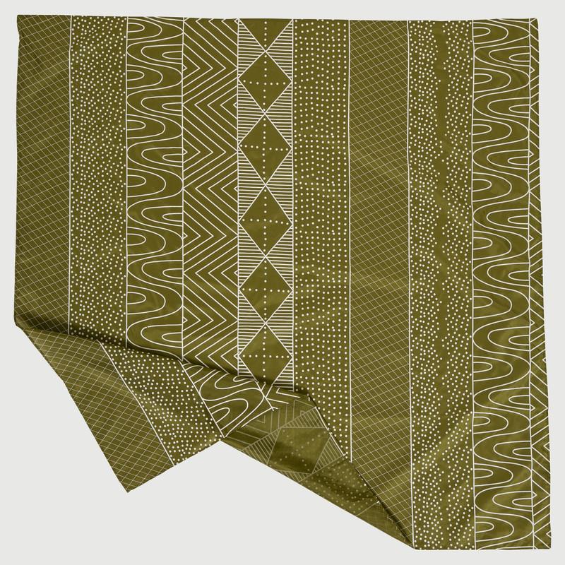 Bima Wear Silk Scarf - Jilamara Olive White