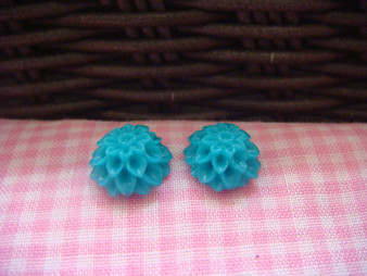 1cm Blue Green Chrysanthemum Cabochon