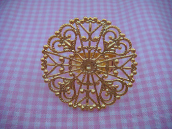 Brass Ring Finding with Filigree plate