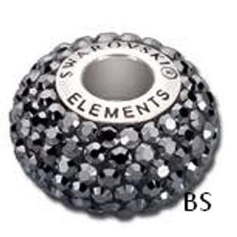 Swarovski BeCharmed Pave Bead 80101 Jet Hematite