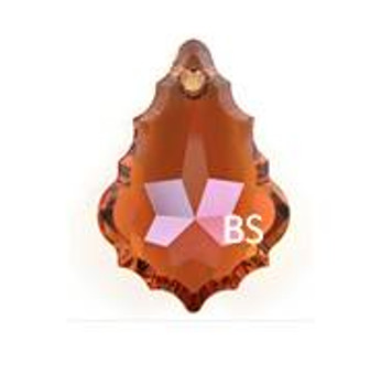 50mm Swarovski 6091 Crystal Copper Baroque Pendant