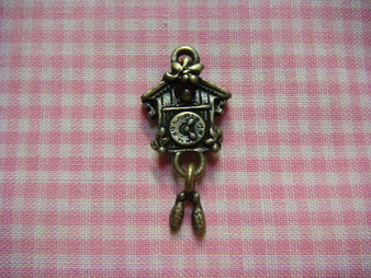 Antique Bronze Cuckoo Clock Charm
