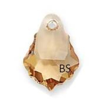 16 x 11mm Swarovski 6090 Light Col Topaz Baroque Pendant