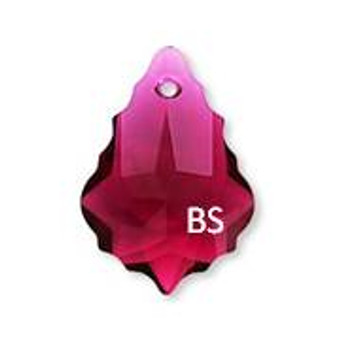 16 x 11mm Swarovski 6090 Ruby Baroque Pendant