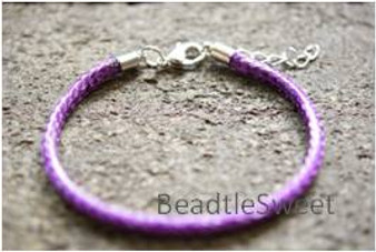 Polyester Cord Bracelet in Dark Purple