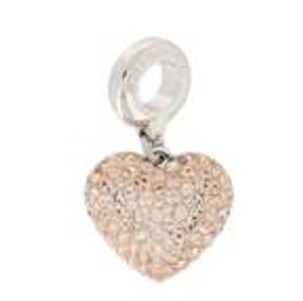 Swarovski BeCharmed Pave Heart Charm Light Peach/Silk 86502