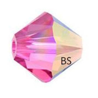 3mm Swarovski 5328 Rose AB Bicone Bead