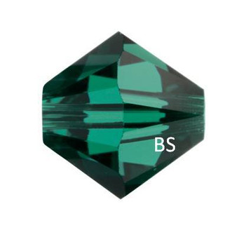 5mm Swarovski 5328 Emerald Bicone Bead