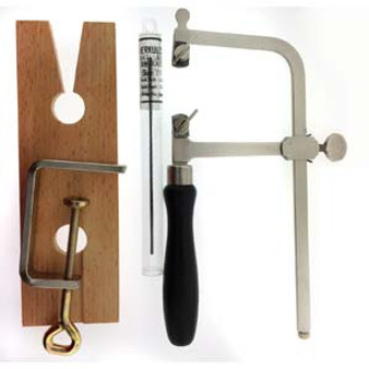 Jeweller Starter Set Saw Frame Bench Pin and Saw Blades
