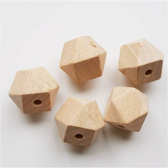 16mm Hexagon Wooden Beads