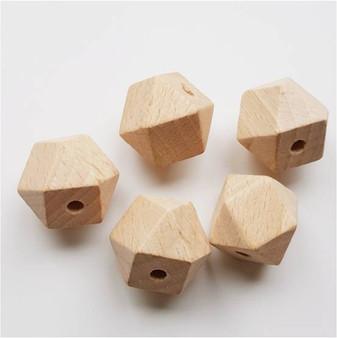 16mm Hexagon Wooden Beads