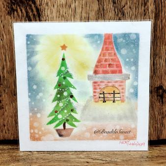 Nagomi Pastel Art : Fireplace Christmas Tree