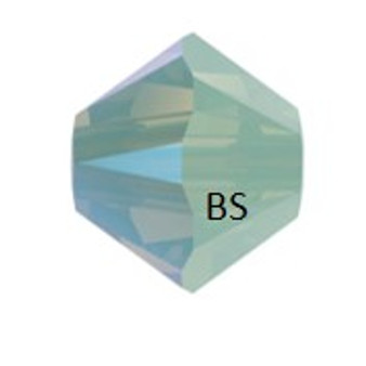 4mm Swarovski 5328 Chrysolite Opal Shimmer Bicone Bead
