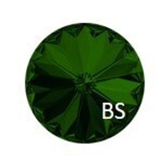 14mm Swarovski 1122 Dark Moss Green Rivoli