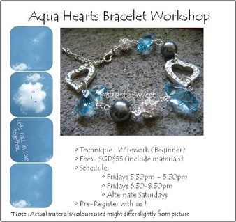Aqua Hearts Bracelet Workshop