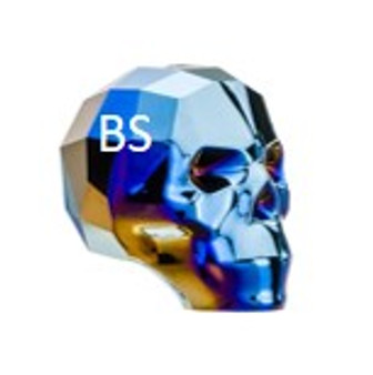 13mm Swarovski 5750 Crystal Metallic Blue 2x Skull Bead