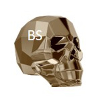 13mm Swarovski 5750 Crystal Light Metallic Gold 2x Skull Bead