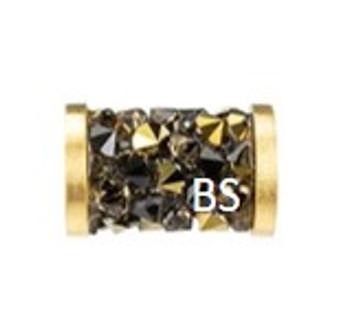 8mm Swarovski 5950 Light Colorado Topaz and Dorado (gold) Fine Rocks Tube Beads with Stainless Steel Finishing