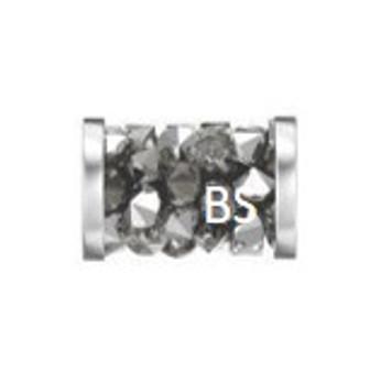 8mm Swarovski 5950 Light Chrome Fine Rocks Tube Beads with Stainless Steel Finishing