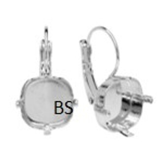 Swarovski 4470 Rhodium Plating Lever Back Earring 12mm
