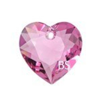 Swarovski 6432 Heart Cut Pendant Rose 10.5mm