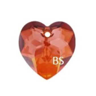 Swarovski 6215 Fancy Heart Pendant Crystal Red Magma 18mm