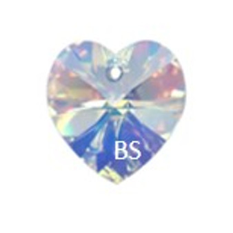 Swarovski 6228 Xilion Heart Pendant Crystal AB 14.4x14mm