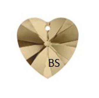 Swarovski 6228 Xilion Heart Pendant Crystal Golden Shadow 14.4x14mm