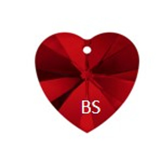 Swarovski 6228 Xilion Heart Pendant Siam 14.4x14mm