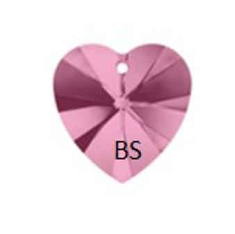 Swarovski 6228 Xilion Heart Pendant Light Rose 18x17.5mm