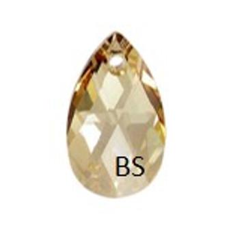 16mm Swarovski 6106 Crystal Golden Shadow Pear Pendant