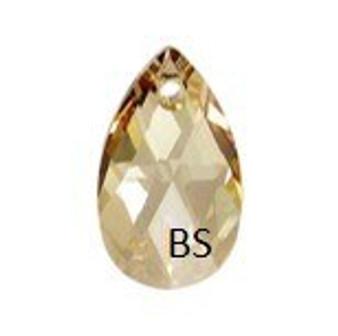 22mm Swarovski 6106 Crystal Golden Shadow Pear Pendant