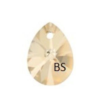12mm Swarovski 6128 Crystal Golden Shadow Mini Pear Pendant