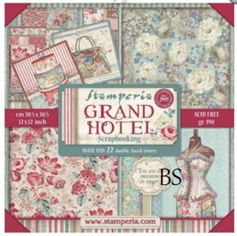 "Stamperia Maxi Pad - Block 22 sheets 30.5x30.5cm (12""x12"") Double Face Grand Hotel"