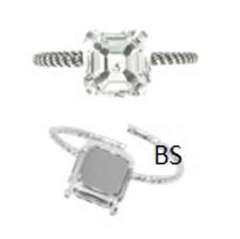 Swarovski 4480 Rhodium Plating Ring Setting 10mm