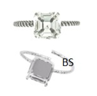 Swarovski 4480 Rhodium Plating Ring Setting 10mm