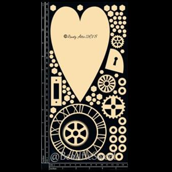 "Designer Mixed Chipboard ""Unlock My Heart"" by Dusty Attic"