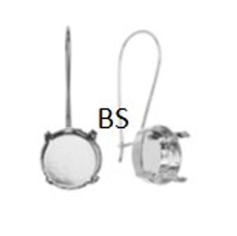 Swarovski 1122 Rhodium Plating Kidney Lever Back Earring 12mm