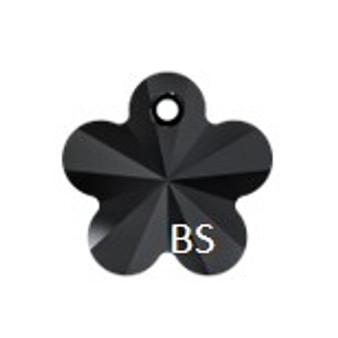 14mm Swarovski 6744 Jet Flower Pendant