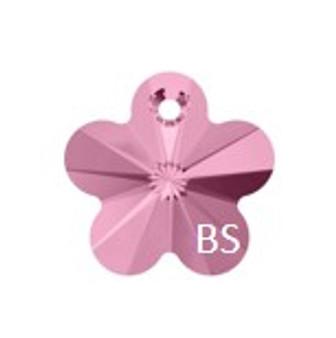 14mm Swarovski 6744 Light Rose Flower Pendant