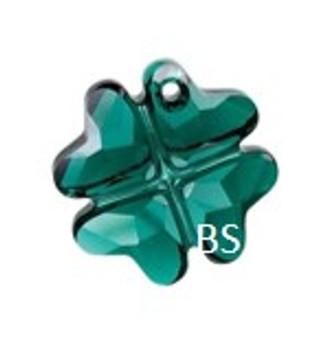 19mm Swarovski 6764 Emerald Clover Pendant
