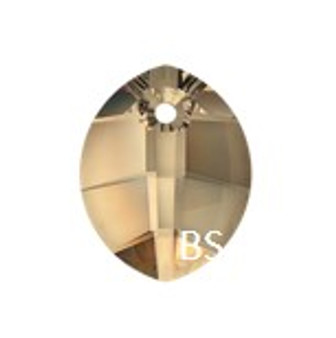 14mm Swarovski 6734 Crystal Golden Shadow Pure Leaf Pendant