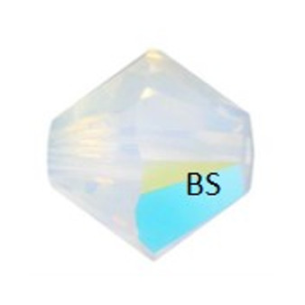 3mm Swarovski 5328 White Opal Shimmer Bicone Bead