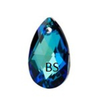 16mm Swarovski 6106 Crystal Bermuda Blue Pear Pendant