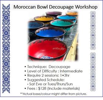 Decoupage Course : Moroccan Bowl Decoupage Workshop