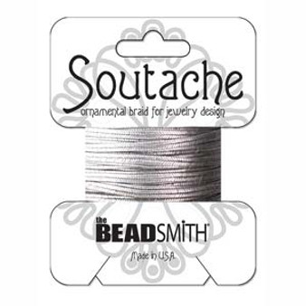 Soutache Rayon Braided Cord (Antique Silver Metallic)