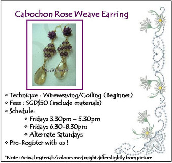 Jewelry Making: Cabochon Rose Weave Earring Workshop
