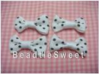 White Ribbon with Black Polka Dots
