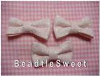 Pastel Pink Ribbons with white polka dots