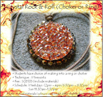 Jewelry Making Course: Crystal Rock and Roll Choker or Ring Workshop